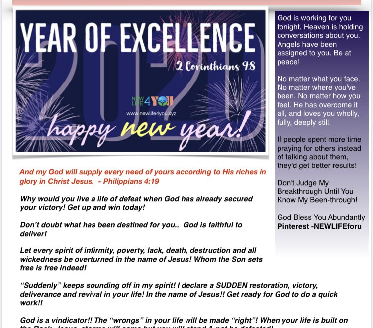 NEWLIFE4YOU  E-MAGAZINE  JANUARY 1, 2020